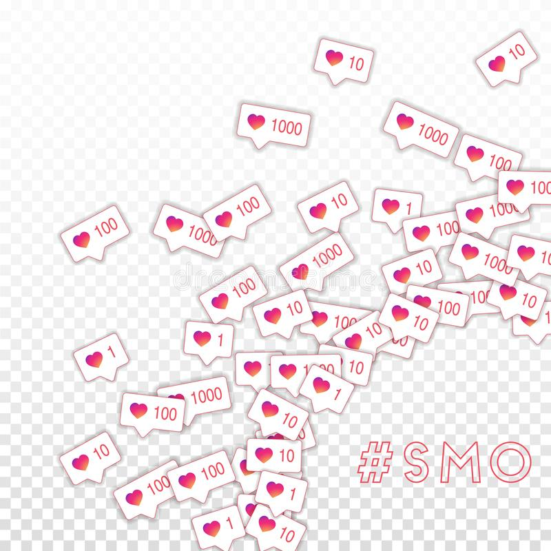 社会媒介象 SMO概念 下坡道降坡喜欢逆 光芒四射的正确的底下壁角元素 向量例证
