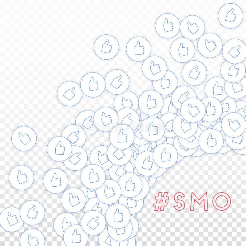 社会媒介象 SMO概念 下跌的疏散赞许 光芒四射的正确的底下壁角元素o 皇族释放例证