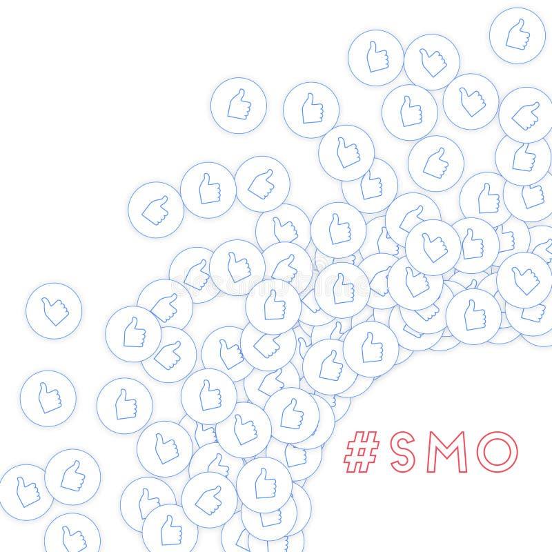 社会媒介象 SMO概念 下跌的疏散赞许 光芒四射的正确的底下壁角元素o 库存例证