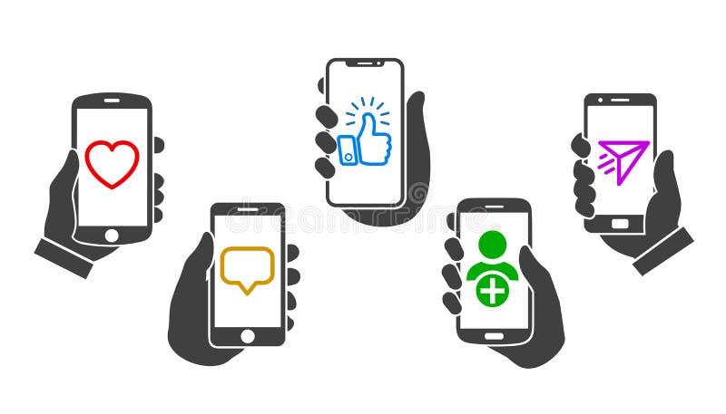 社会媒介通信概念,流动应用,培养智能手机–传染媒介的集合手 向量例证