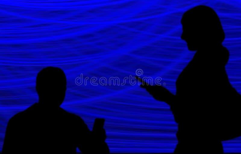 社会媒介,在手中拍与电话的人们照片 向量例证