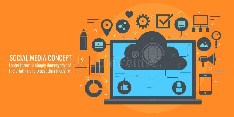 社会媒介,社会网络,网络,通信,关系大厦,云彩系统概念 平的设计传染媒介横幅 向量例证