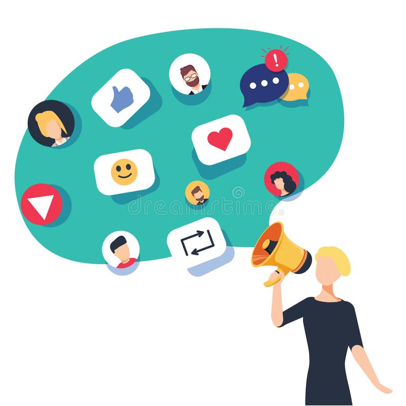 社会媒介,网络和聊天的发短信 通信机智 向量例证