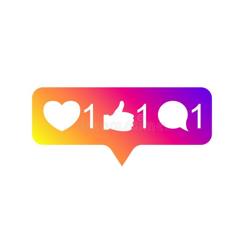 社会媒介Instagram现代象1,追随者1,评论1梯度颜色 喜欢,追随者,评论按钮,象,标志 向量例证