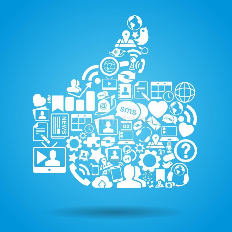 社会媒体喜欢赞许 向量例证