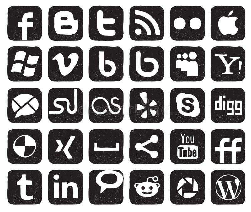 社会媒体按钮 向量例证