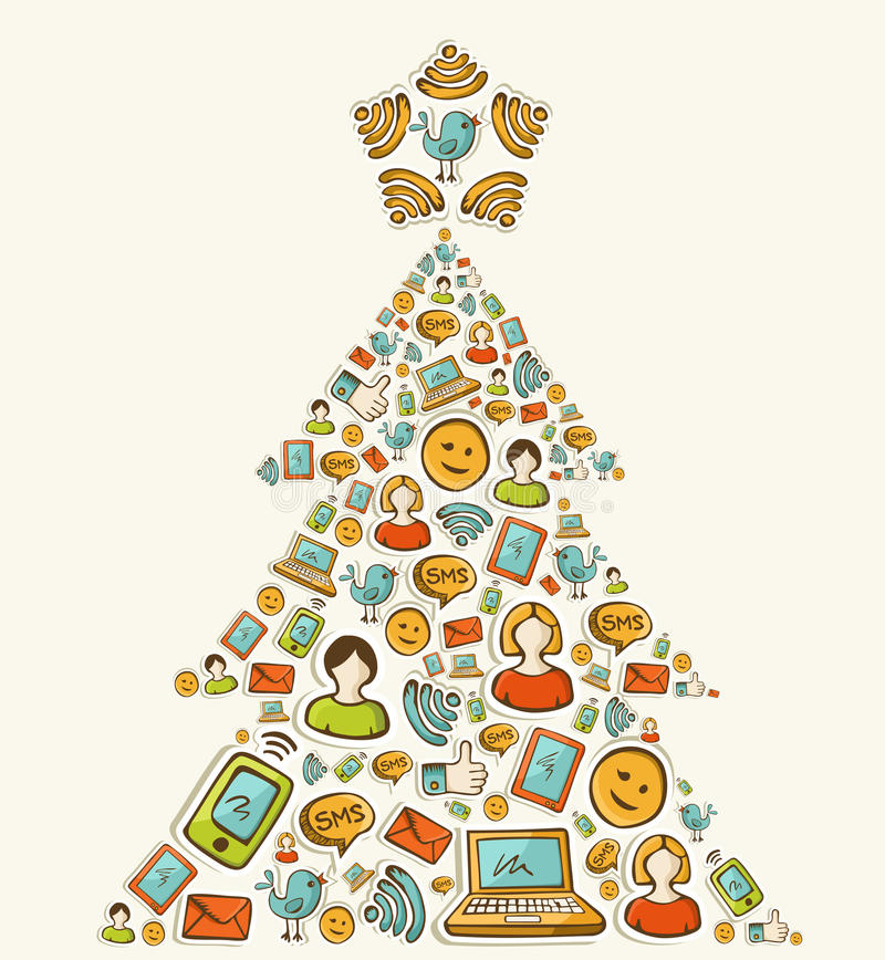 社会媒体网络圣诞树 皇族释放例证