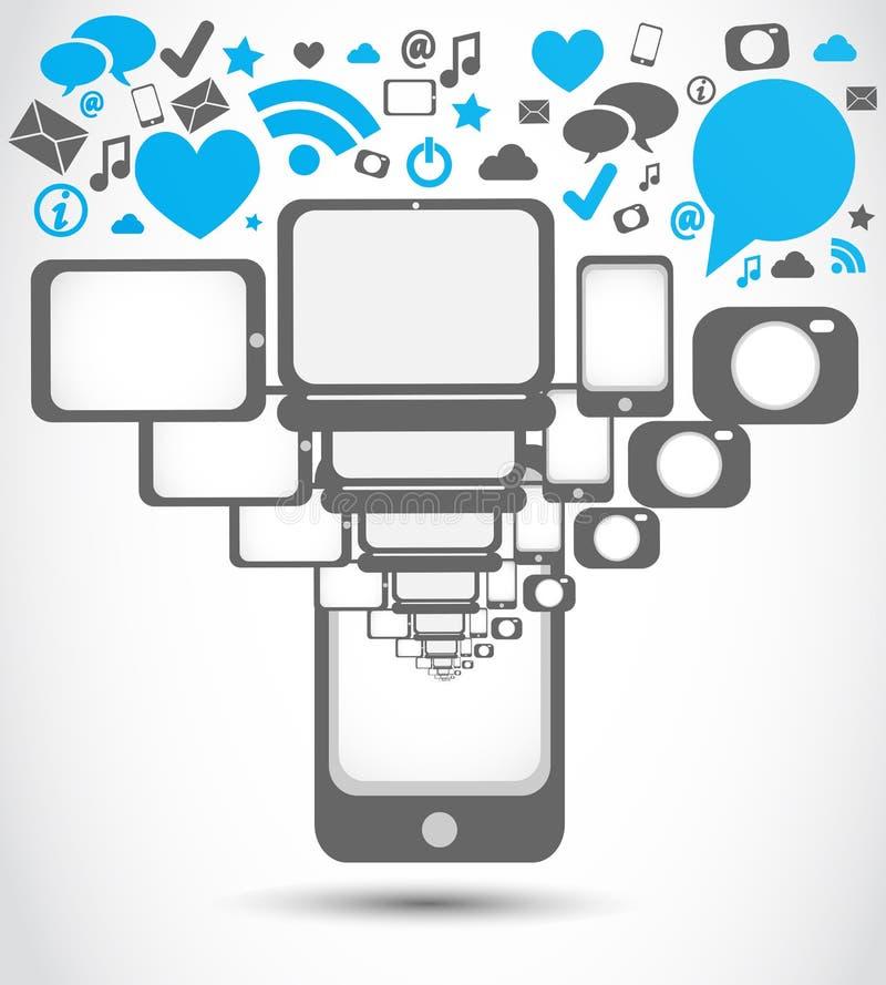 社会媒体MOBIL电话应用 库存例证