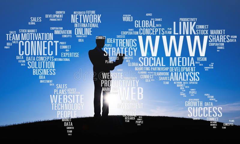 社会媒介互联网连接全球性通信概念 免版税库存照片