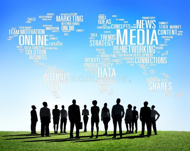 社会媒介互联网连接全球性通信 向量例证