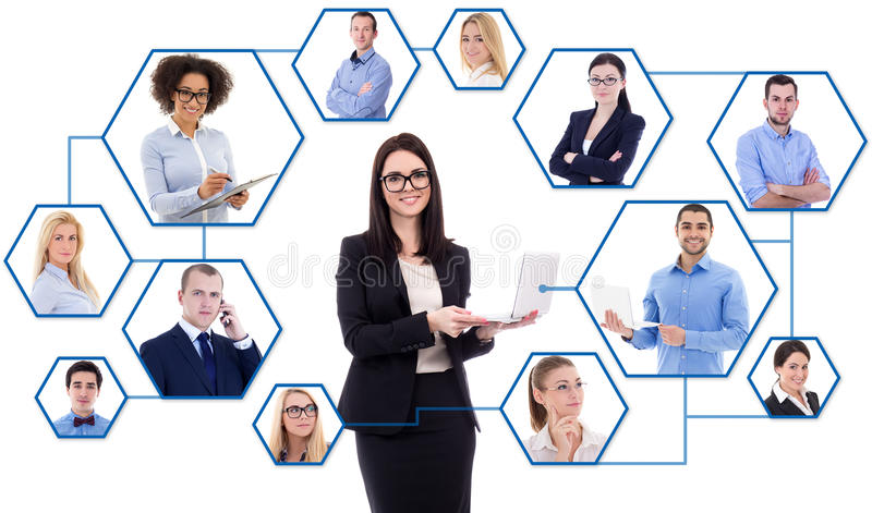 社会媒介和国际企业概念-年轻事务 免版税库存照片