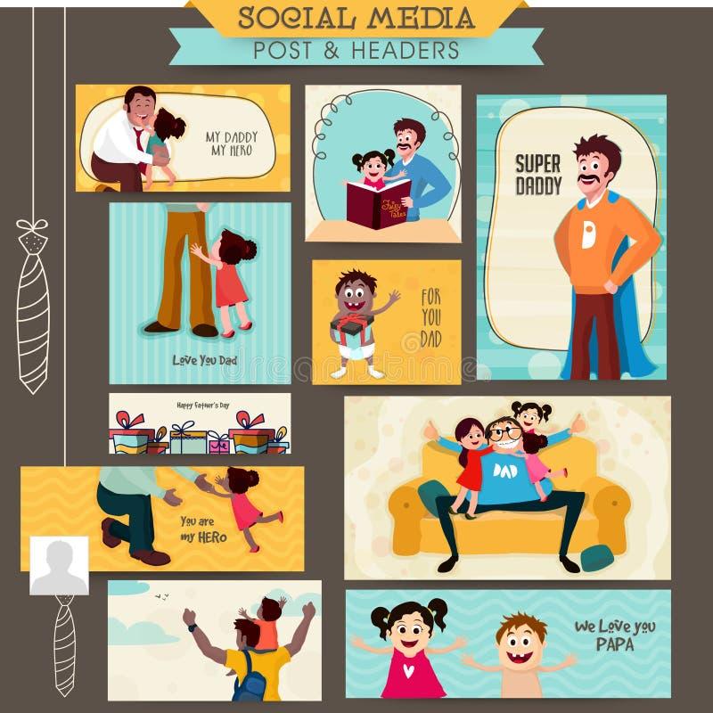 社会媒介岗位和倒栽跳水为父亲节 库存例证