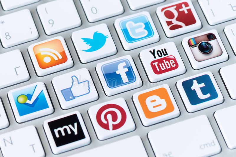 社会媒介按钮 免版税库存照片