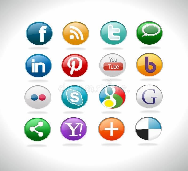 社会媒介按钮 向量例证