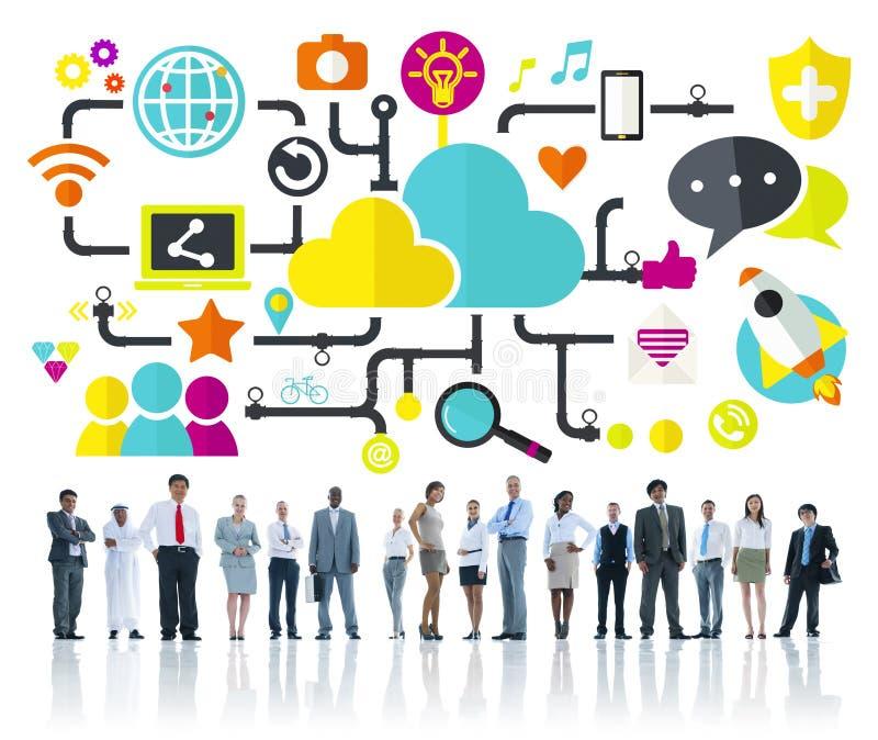 社会媒介社会网络连接数据存贮概念 库存例证