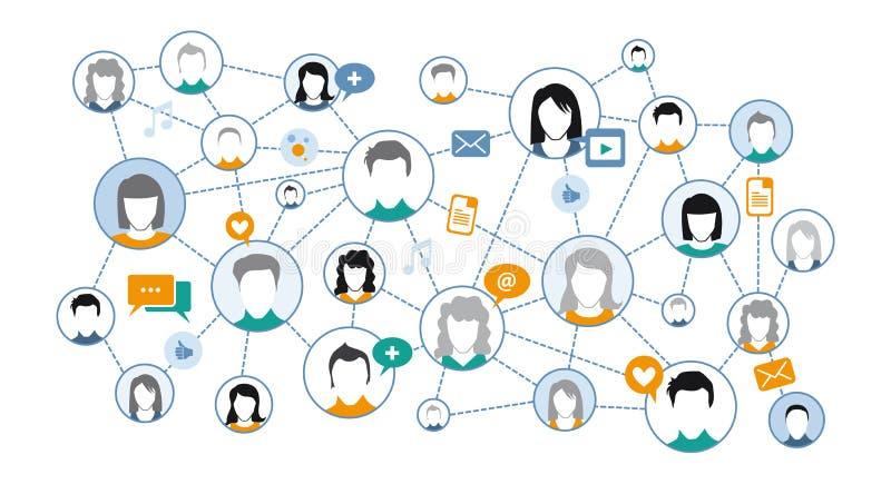 社会媒介网络的图表表示法 向量例证