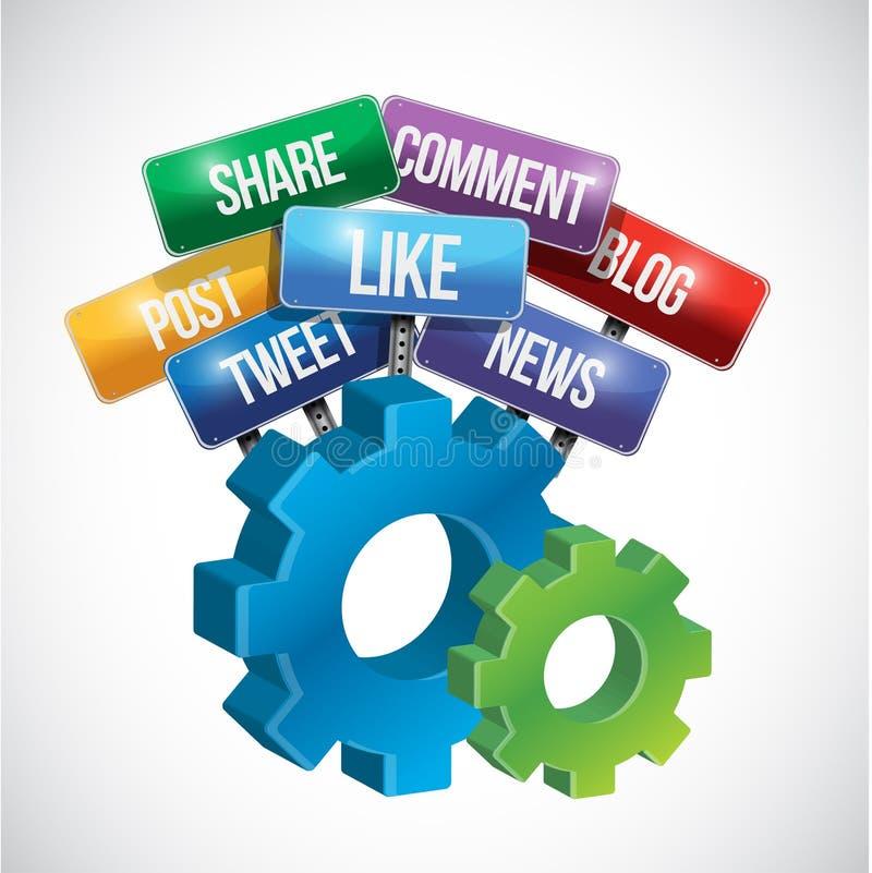 社会媒介齿轮标志例证设计 向量例证