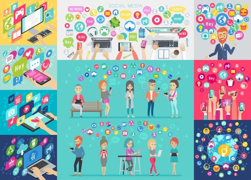 社会媒介Infographic设置了与图和其他元素 向量例证