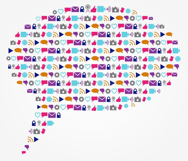 社会工艺学和网络讲话和文本起泡 库存例证