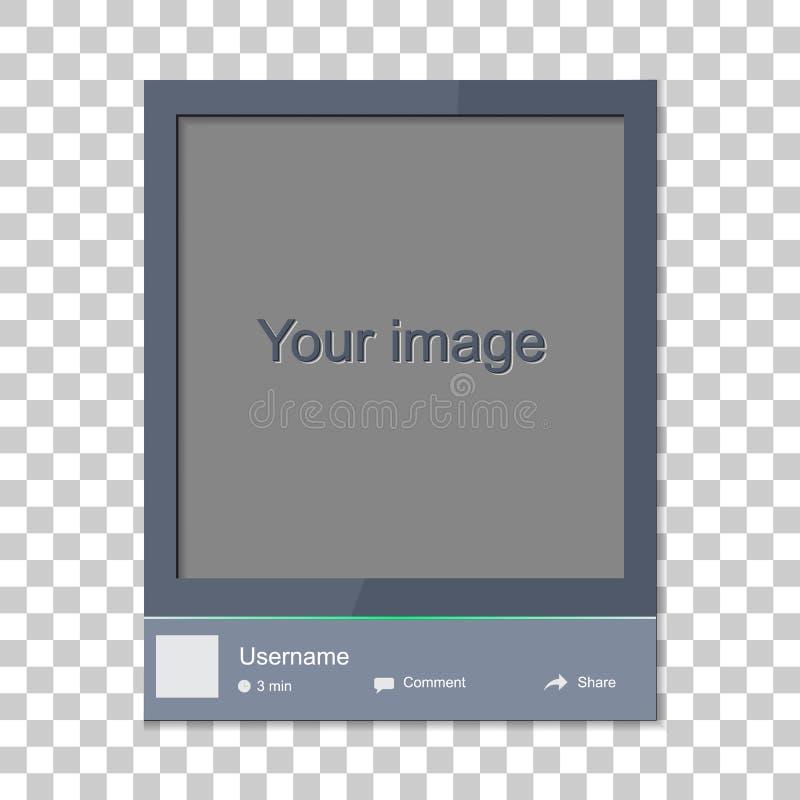 社会照片框架 与模板框架联系 插入您的pi 向量例证