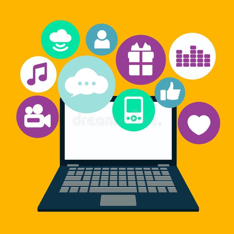 社会网络和聊天的横幅 全球性通信, e邮寄,网叫 与讲话泡影的膝部上面 向量例证