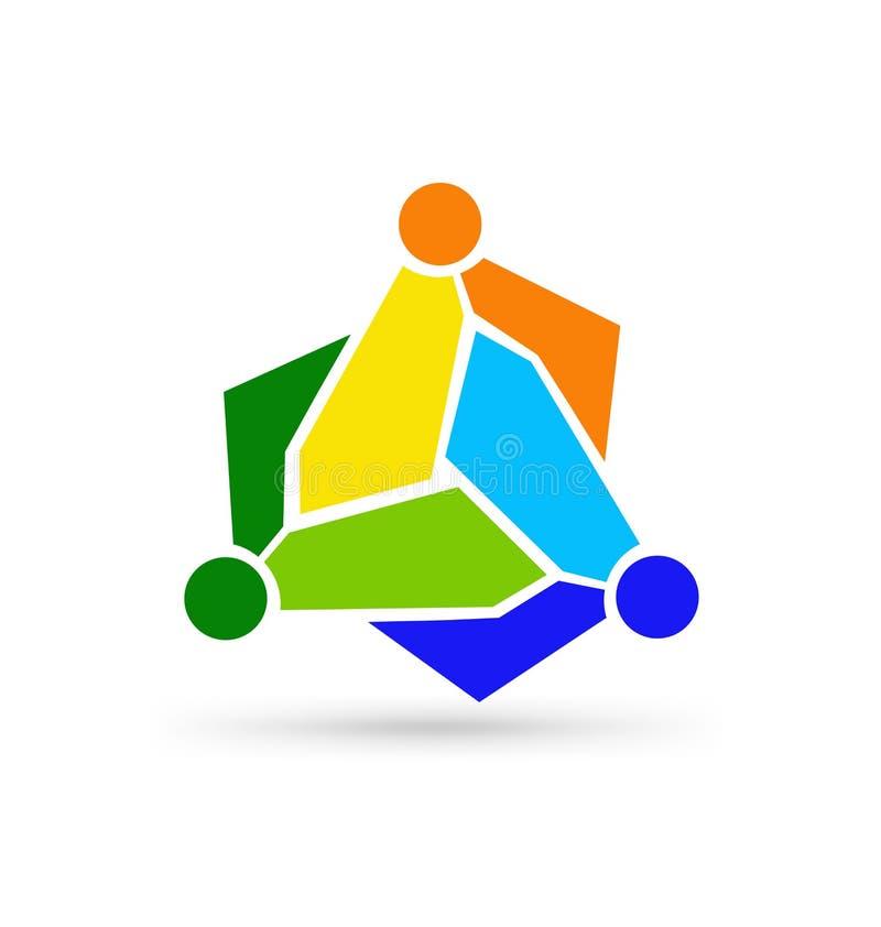 社会网络商标,小组3个人商人 10个背景设计eps技术向量 库存例证