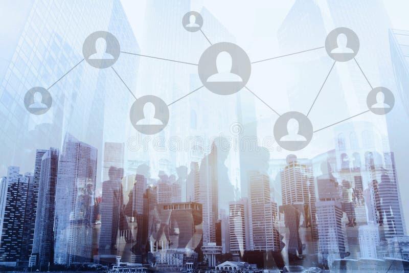 社会网络或商务联系概念 免版税图库摄影