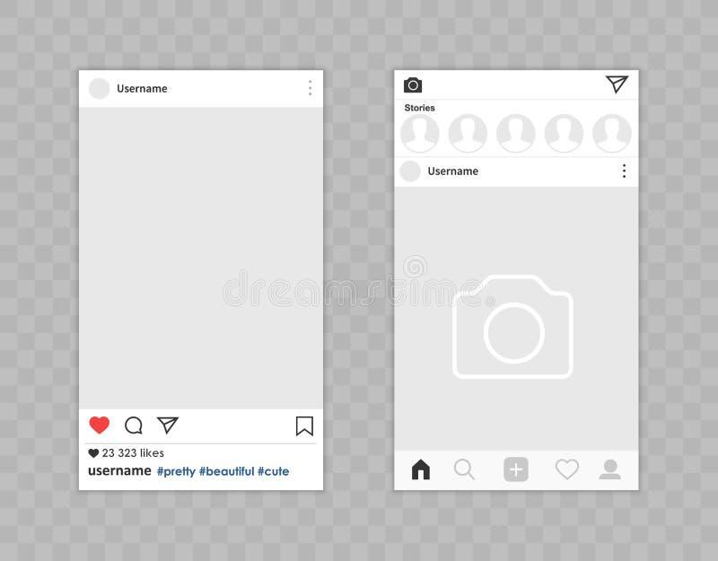 社会网络照片框架app接口 在背景的传染媒介例证 向量例证