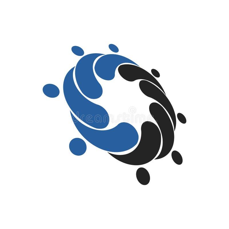 社会网络队伙伴家庭朋友商标设计 平的ve 库存例证