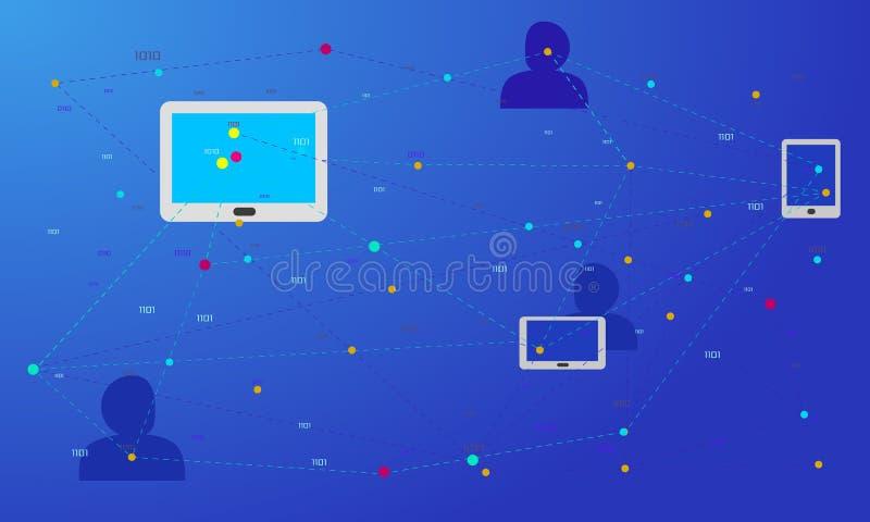 社会网络,连接的人们全世界 互联网、通信和社会媒介概念在网络与膝上型计算机c 库存例证