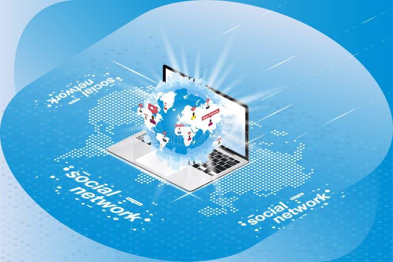 社会网络3D等量概念 与通知象的地球在一台膝上型计算机的在一张数字式世界地图的背景 向量 皇族释放例证