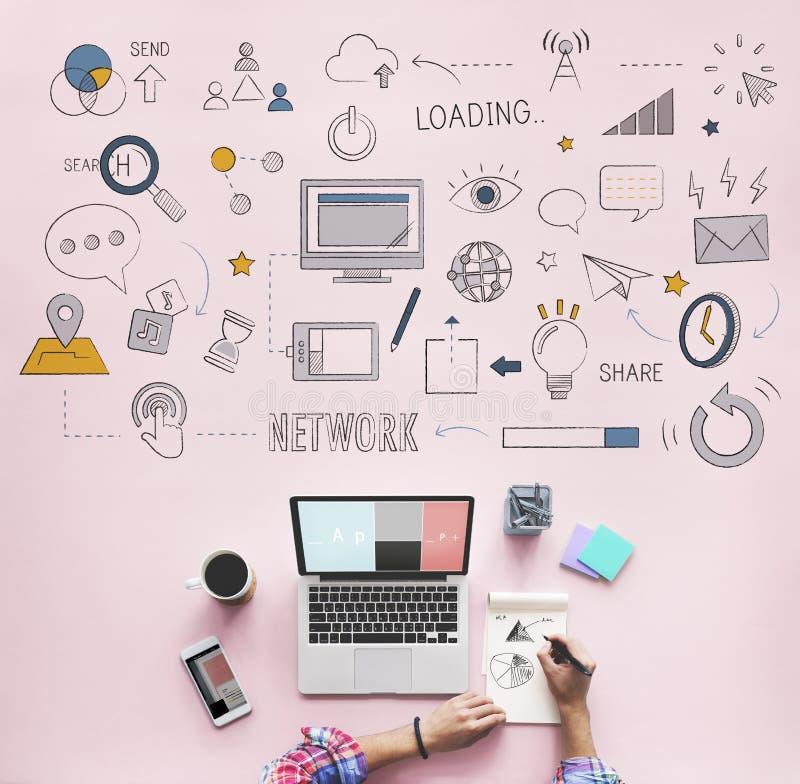 社会网络互联网技术概念 库存例证