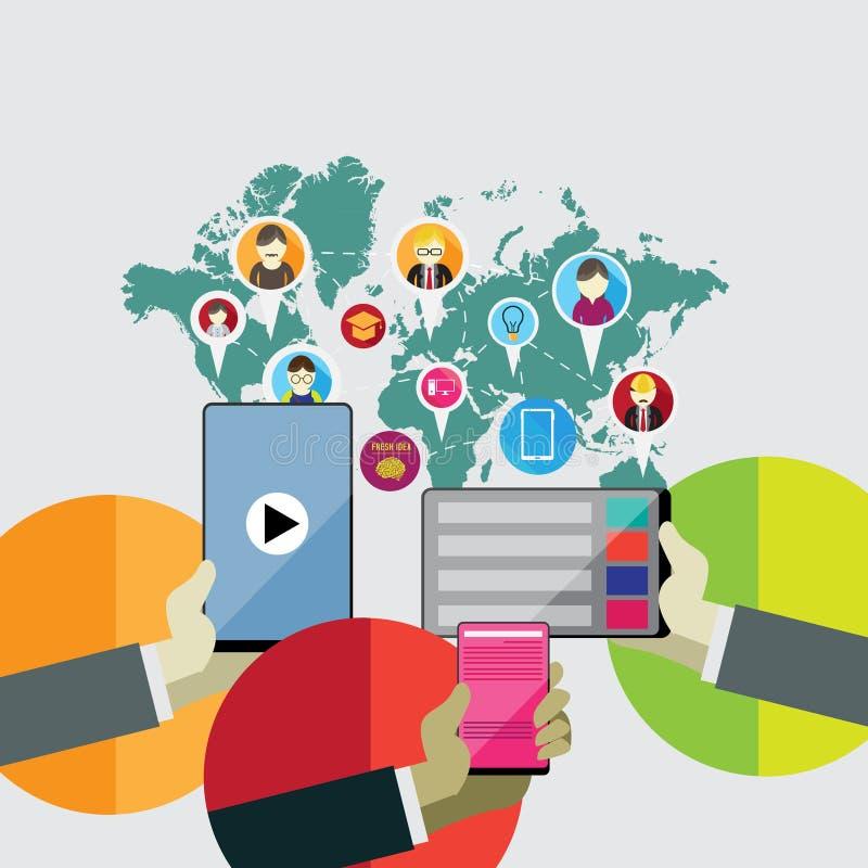 社会网络的平的设计观念通过使用现代电子设备 库存例证
