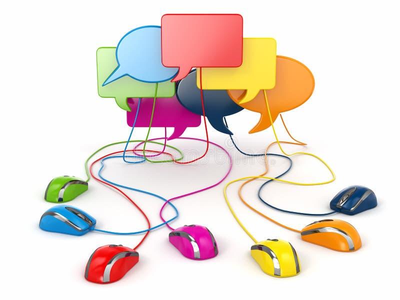 社会网络的概念。论坛或闲谈泡影讲话。 皇族释放例证