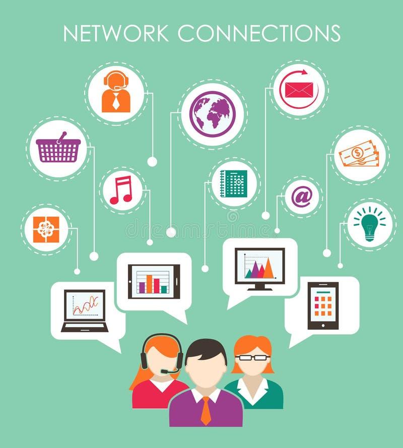社会网络连接概念 库存例证