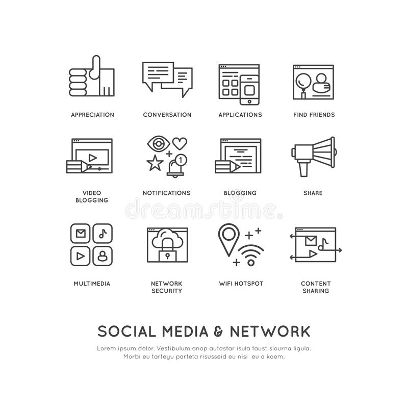 社会网络连接的概念,象,份额,跟随,通知,手表 库存例证