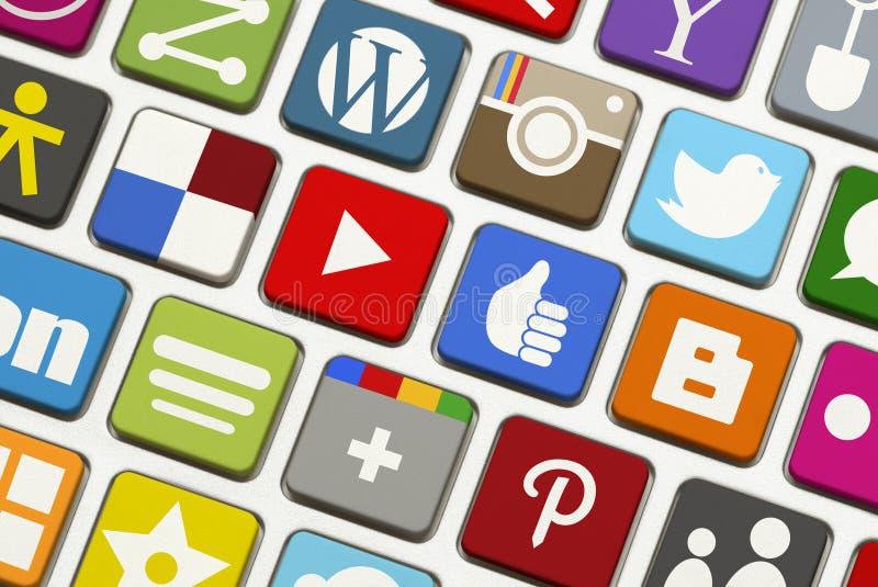 社会网络键盘 免版税库存照片