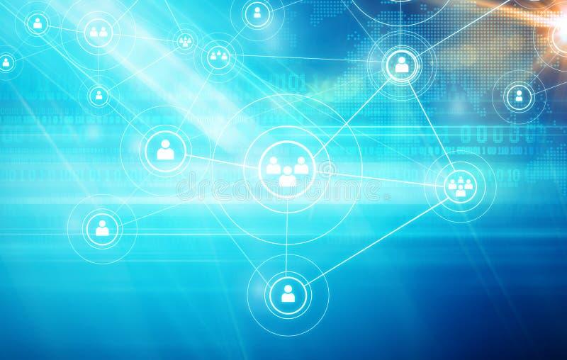 社会联络人的媒介和新的数字技术由智能手机或互联网概念系列 皇族释放例证