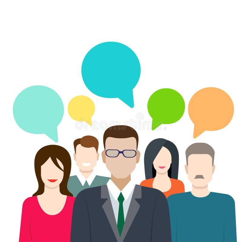 社会营销、闲话、呼出和闲谈签署平的传染媒介 向量例证