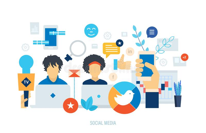 社会营销,媒介计划,网络广告,人网络通信 库存例证