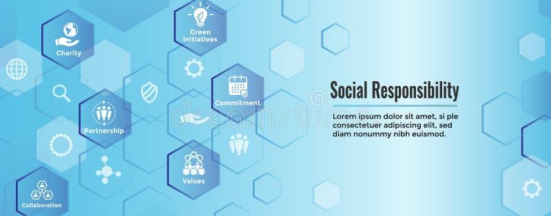 社会责任感坚实象设置了-诚实,正直, colla 向量例证