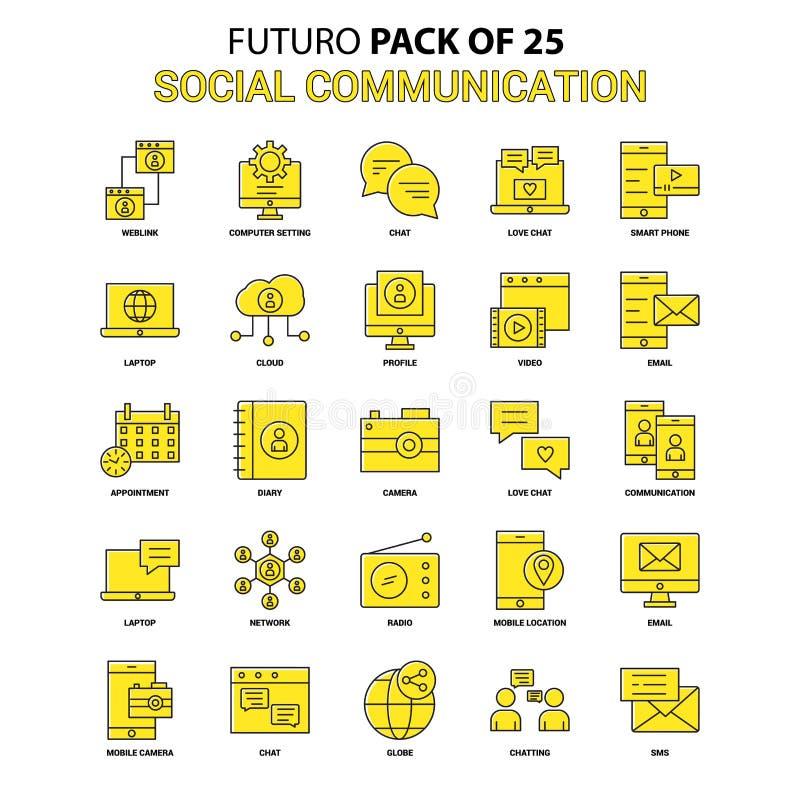 社会通信象集合 黄色Futuro最新的设计象 库存例证