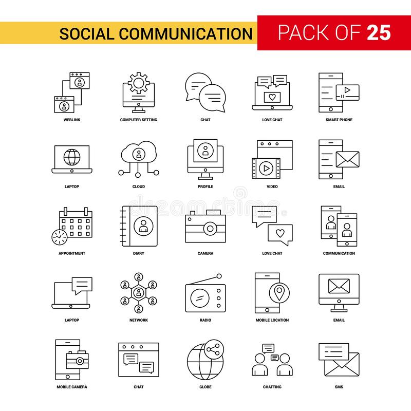 社会通信黑色线象- 25企业概述象 向量例证