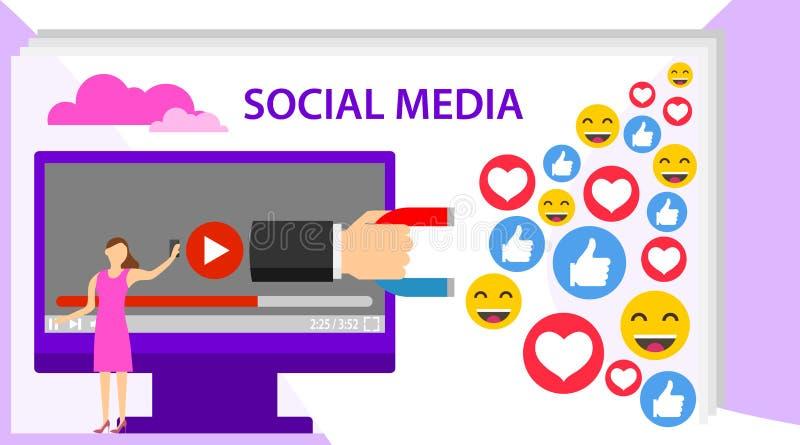 社会influencer概念 与文本地方的社会媒介概念横幅 媒介满意劫掠象从社会观众 向量例证
