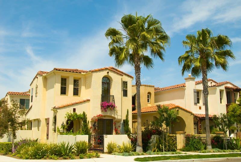社区房子重要资料计划的西班牙样式 免版税库存照片