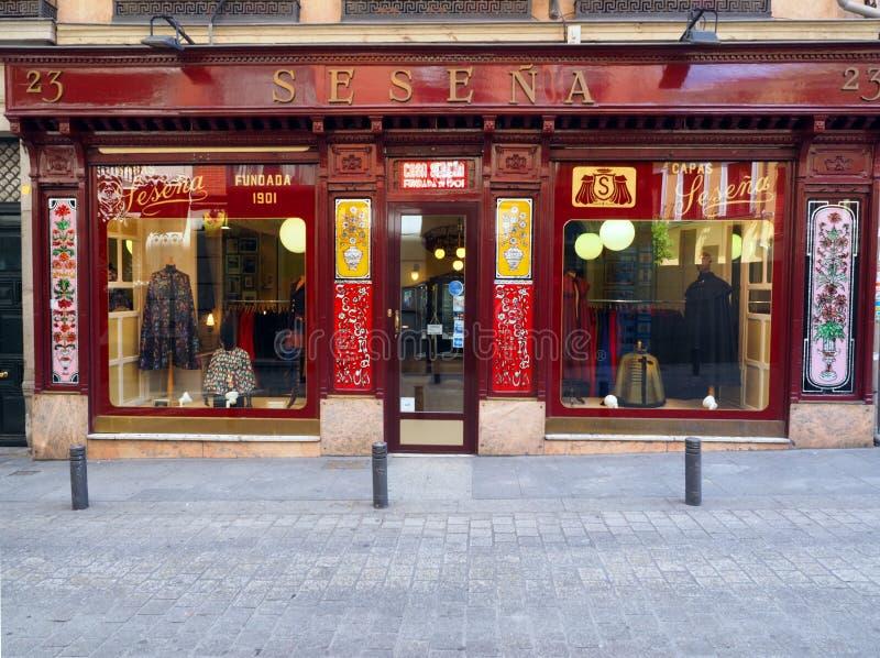 社论Sesena裁缝海角商店店面被看见街市 图库摄影