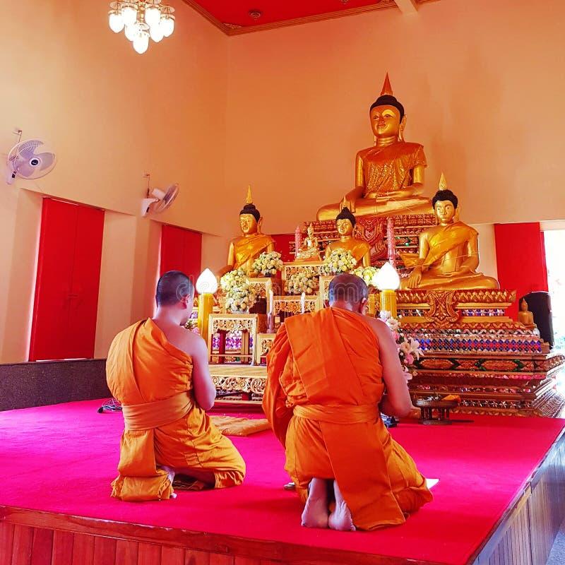 祈祷在佛教寺庙的修士 免版税库存照片