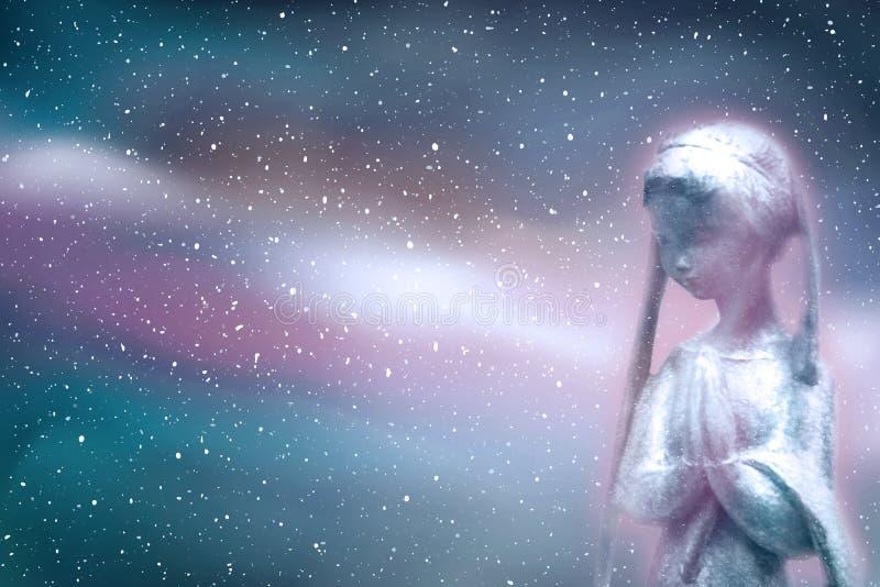 祈祷在宇宙的精神 免版税库存照片