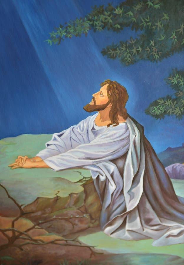 祈祷在庭院里的耶稣 向量例证