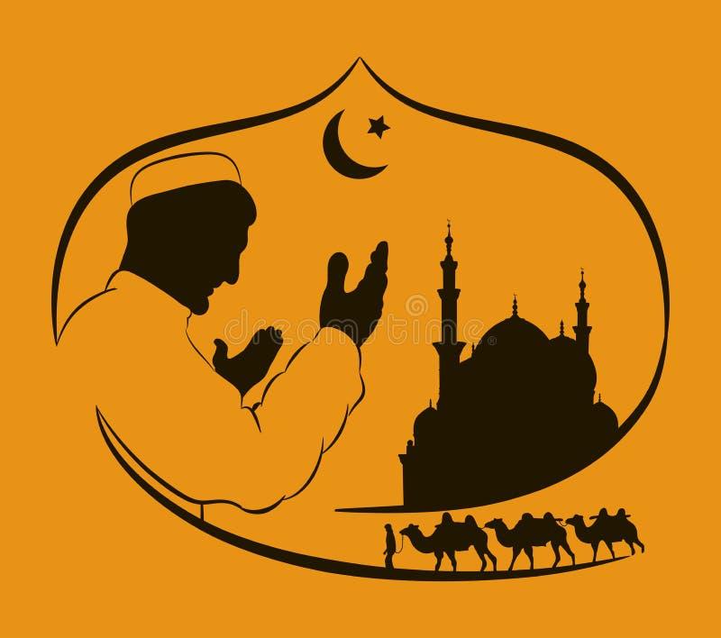 祈祷在日落期间的穆斯林的剪影,清真寺的剪影,骆驼有蓬卡车  拉长的现有量 皇族释放例证
